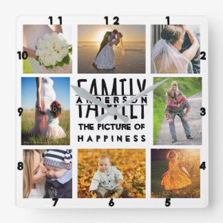 Family Photo Collage Add Name Template | 8 Picture Wallclock
