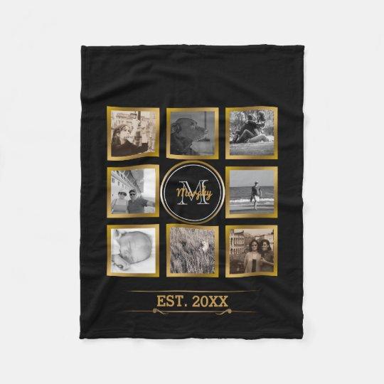 Family Photo Collage Black Gold Custom Monogram Fleece Blanket