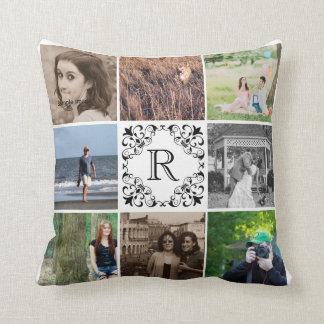 Family Photo Collage   Black Monogram Fleur de Lis Cushion