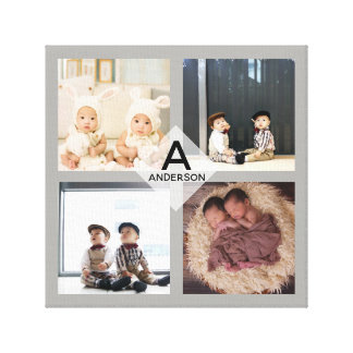 Family PHOTO COLLAGE Canvas - Add Monogram - CHIC