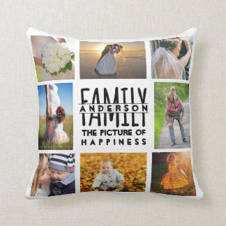 Family Photo Collage Name Template | Add 16 Pics Cushion