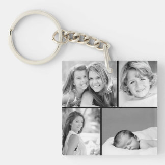 Family Photo Collage Single-Sided Square Acrylic Key Ring