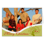 Family Photo Cute Birds Lime Christmas Tree