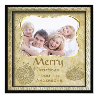 Family Photo Gold Metallic Christmas Holiday Cards 13 Cm X 13 Cm Square Invitation Card
