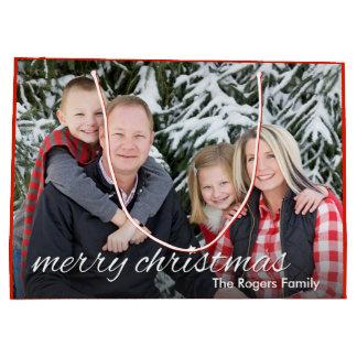 Family Photo Merry Christmas Custom Large Gift Bag