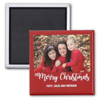 Family Photo Merry Christmas Magnet Greeting Card