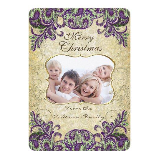 Family Photo Purple & Green Peacock Christmas Card