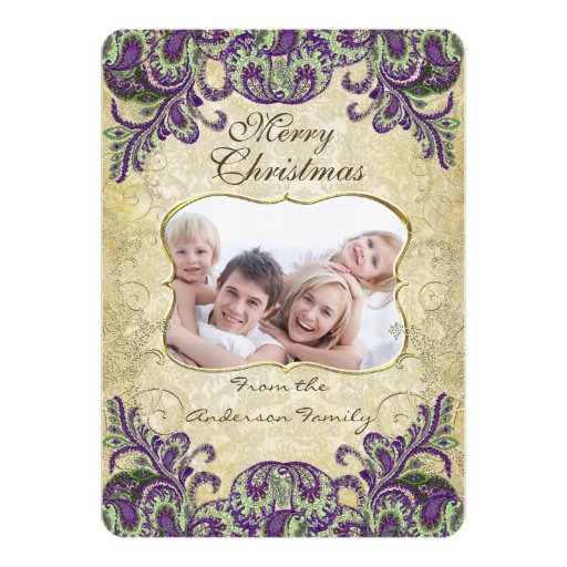 Family Photo Purple & Green Peacock Christmas Card Custom Invitation