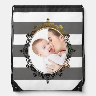 Family Photo Stripes Custom Drawstring Backpack