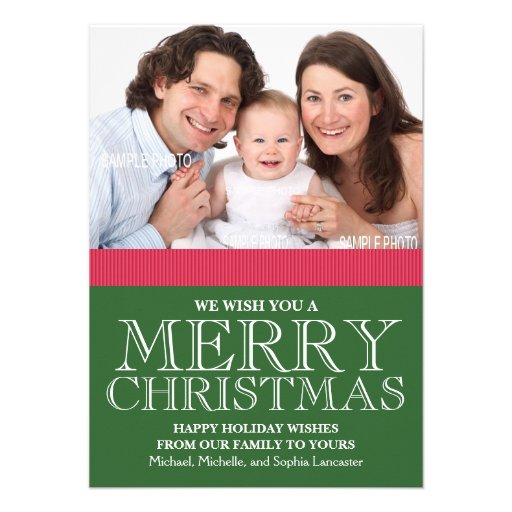 Family Photo We Wish You a Merry Christmas Custom Announcements