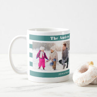 Family Photos Personalized I Modern Teal Stripes Coffee Mug