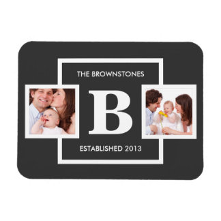 Family Photos with Personalized Monogram Rectangular Photo Magnet