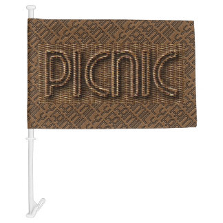 Family Picnic Funny Wicker Typography Car Flag