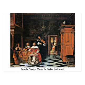 Family Playing Music By Pieter De Hooch Postcard