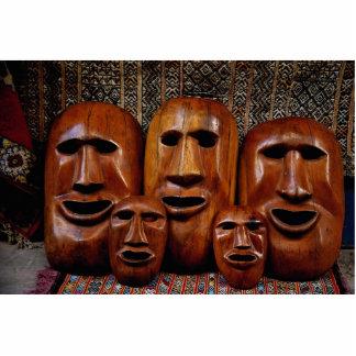Family portrait of masks cut out