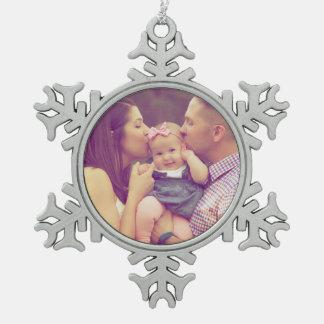 Family Portrait Photo Holiday Snowflake Ornament