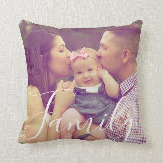 Family Portrait Photo Pillow Text Option