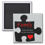 Family Puzzle Square Magnet