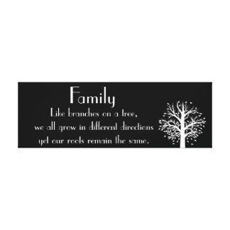 Family Quote Canvas Art Tree Black and White Gallery Wrapped Canvas