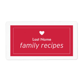 Family Recipes Shipping Label