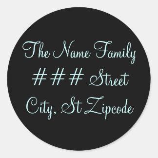 family return address label - personalize info round sticker