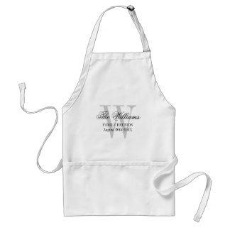Family reunion BBQ apron with name monogram
