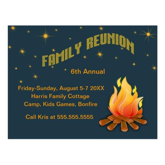 Family Reunion -Bonfire invite Postcard