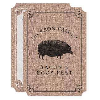 Family Reunion Brunch Rustic Farm Vintage Pig 13 Cm X 18 Cm Invitation Card