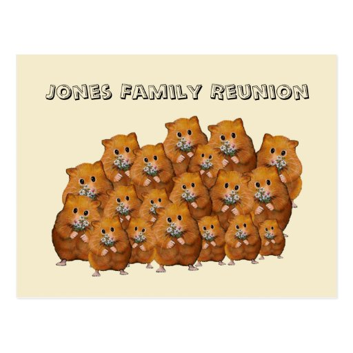 Family Reunion, Crowd of Cute Hamters, Daisies Postcards