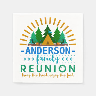 Family Reunion Funny Camping Party | Custom Name Disposable Serviette