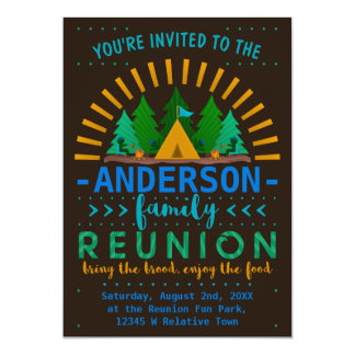 Family Reunion Funny Camping Summer Party Card