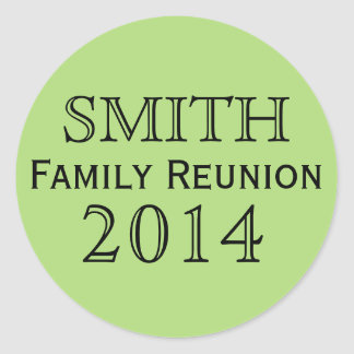 Family Reunion Green Background Classic Round Sticker