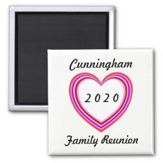 Family Reunion Heart Design Sq Dated Keepsake Gift Magnet