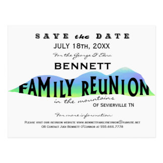 FAMILY REUNION IN THE MOUNTAINS SAVE THE DATE POST CARD