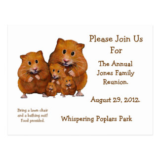 FAMILY REUNION INVITATION, Hamsters, Artwork Postcard