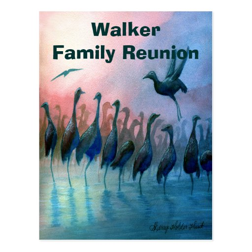 Family Reunion Invitation with Water Birds Post Card