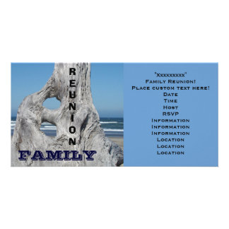 Family Reunion Invitations Ocean beach Blue Waves Picture Card