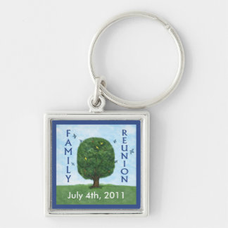 Family Reunion Keepsake Key Ring Silver-Colored Square Key Ring