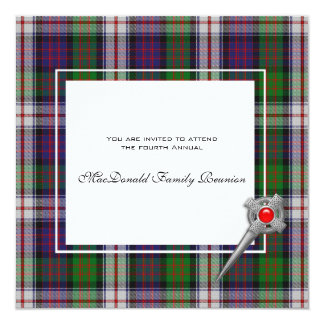 Family Reunion MacDonald Dress Clan Tartan 13 Cm X 13 Cm Square Invitation Card