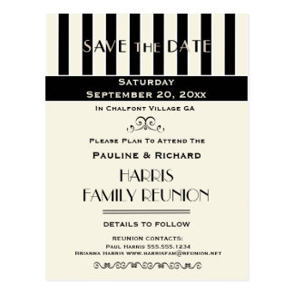 Family Reunion, Party, Event Striped Save the Date Postcard