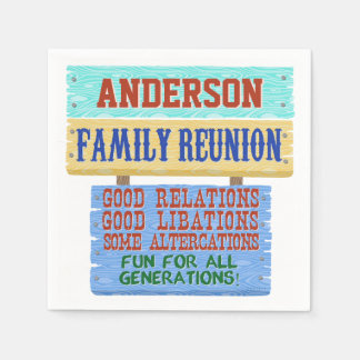 Family Reunion Party Funny Wooden Sign | Add Name Disposable Napkin