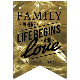 Family Reunion Party Love Pride Gold Typography Bunting