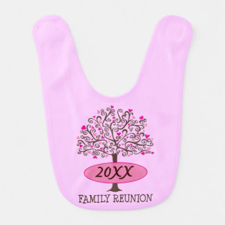 Family Reunion Personalized Heart Tree Baby Bib