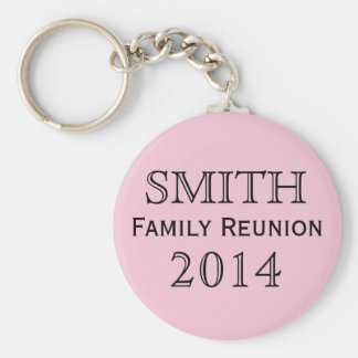 Family Reunion Pink Background Basic Round Button Key Ring