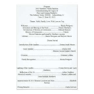 Family Reunion Program 13 Cm X 18 Cm Invitation Card