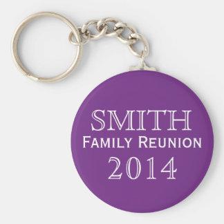 Family Reunion Purple Background Basic Round Button Key Ring