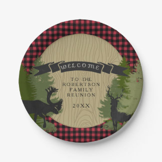 Family Reunion Rustic Picnic Deer Antler Trees Paper Plate