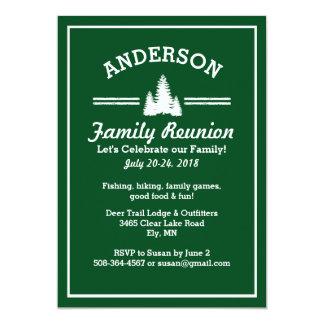 Family Reunion Trip   Rustic Pine Trees Lake House Card