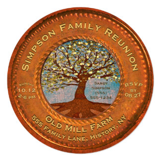 Family Reunion Vintage Copper Card