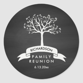 Family Reunion with Chalkboard, Banner and Tree Round Sticker